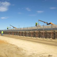 Great Eastern Roe Highway Interchange Safety Scaffolding Limestone Retaining Wall